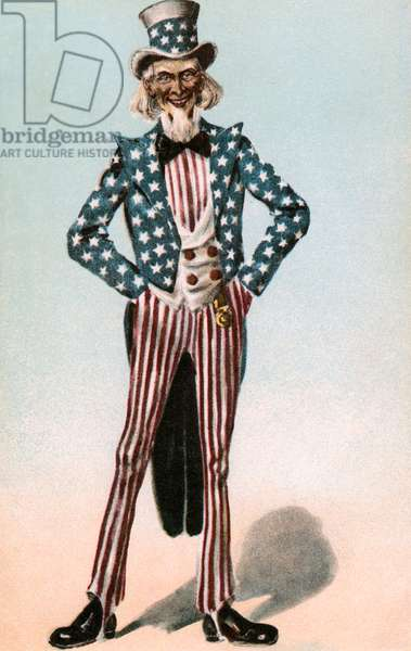 Uncle Sam in an American Flag Suit, 1916 (chromolithograph)