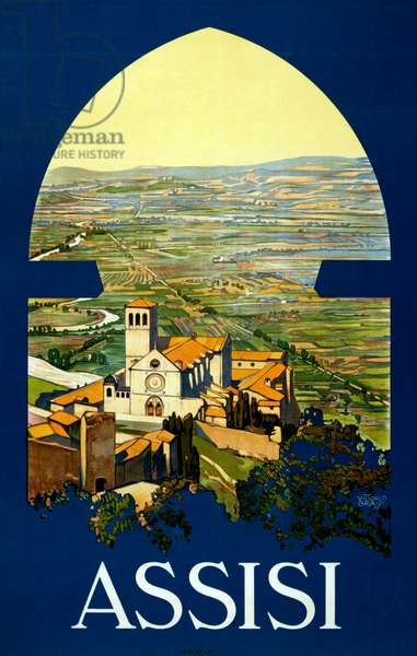 Assisi Travel Poster, c.1920 (colour litho)