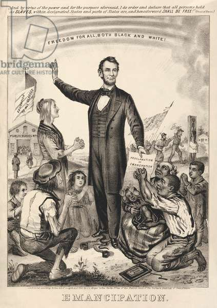 Poster of Abraham Lincoln's Emancipation Proclamation, 1865 (lithograph)