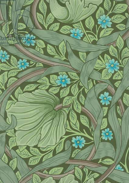 William Morris Wallpaper Sample with Forget-Me-Nots, c.1870 (colour woodblock print)