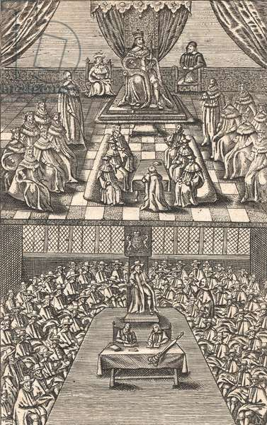 The House of Lords and House of Commons under King Charles I, c.1640 (colour woodcut)