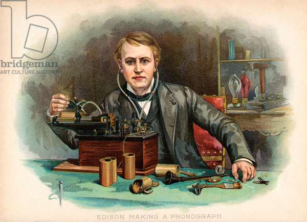 Thomas Edison Making a Phonograph, 1901 (chromolitho)