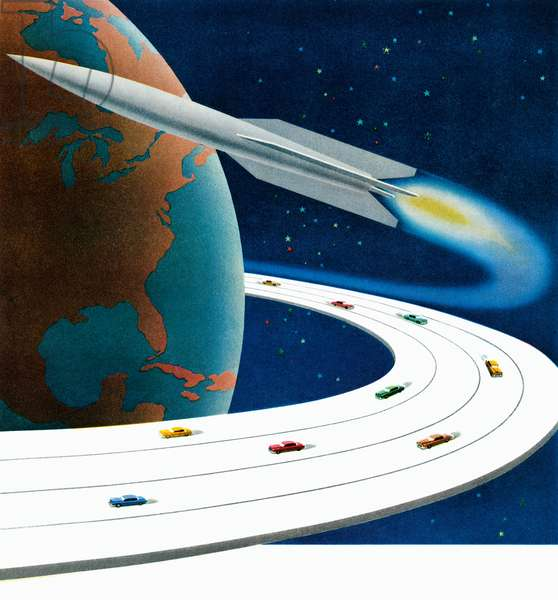 Futuristic Planet Earth with Revolving Highway and Rocket, 1949 (screenprint)