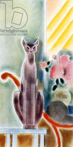 Modernist Cat Sitting on a Table, 1929 (screenprint)