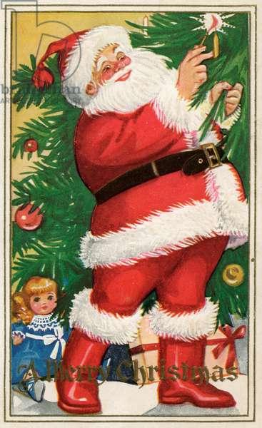 Santa Lighting Candles on a Christmas Tree, 1915 (screen print)