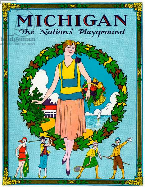 Michigan - The Nation's Playground Travel Poster, 1920s (screenprint)