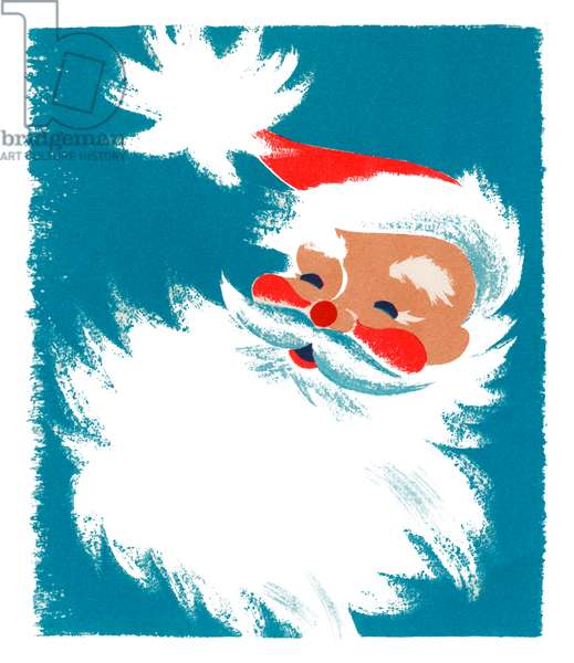 Vintage Illustration of Santa Claus, 1940s-50s (screenprint)