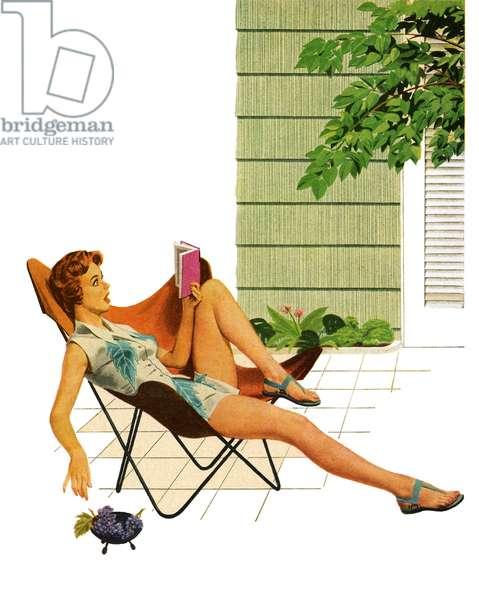 Woman Reading Book Outdoors, 1954 (screen print)