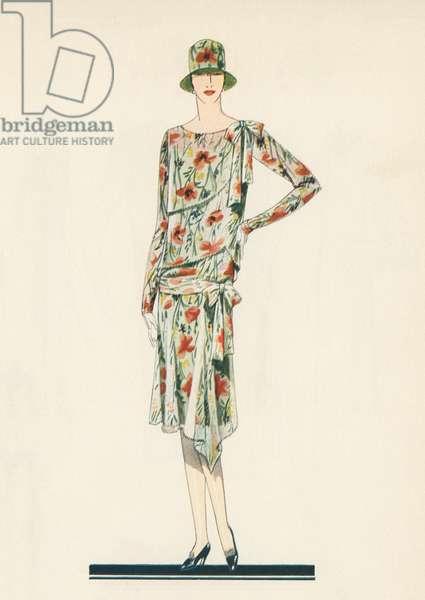 Flapper in an Afternoon Dress, 1928 (screen print)
