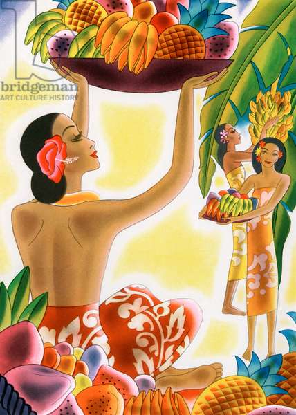 Hawaiian Women Harvesting Fruit, 1947 (lithograph)