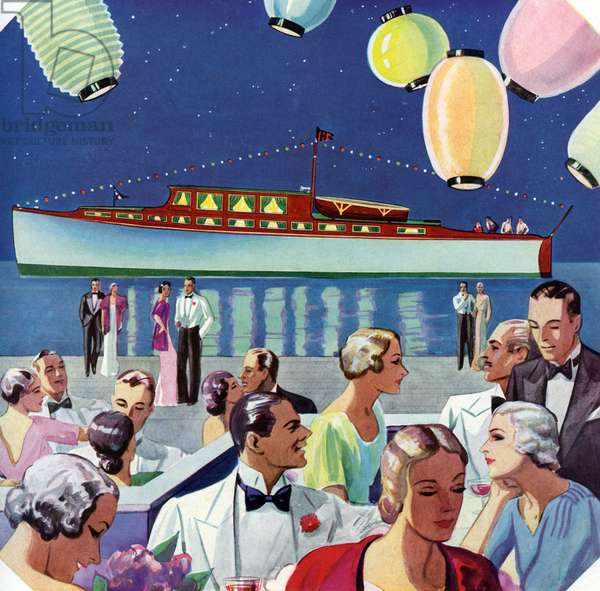 A Waterfront Party by a Yacht, 1932 (screen print)