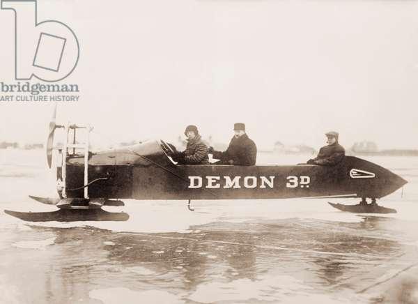 Vintage Racing Ice Car, c.1910 (silver print photograph)