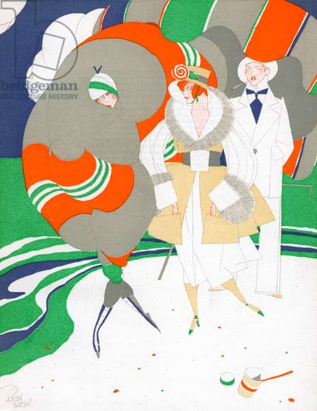 Caricature of Flappers Wearing Furs, c.1920 (colour litho)