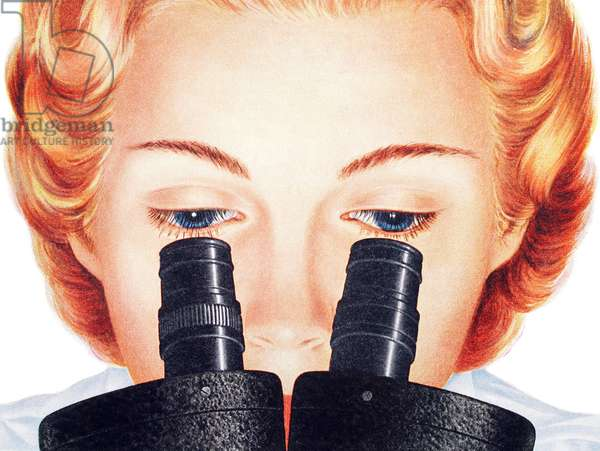 Scientist Looking into Microscope, 1954 (screenprint)
