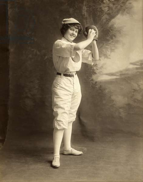 Early Portrait of a Woman Baseball Player, 1913 (silver print photograph)