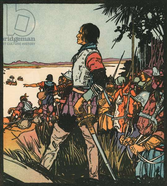 Explorers: Hernando De Soto on the Mississippi River, 1931 (woodcut print)