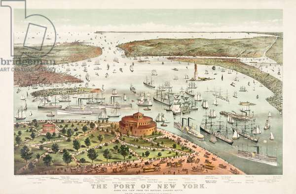 The Port of New York by Currier & Ives, 1892 (colour litho)