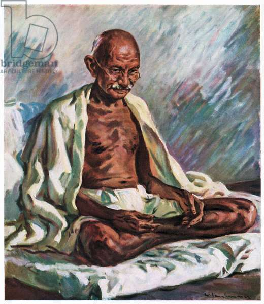Portrait of Mahatma Gandhi Seated, 1947 (screenprint)
