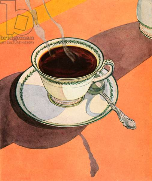 Illustration of Steaming Cup of Coffee, 1930s (screenprint)