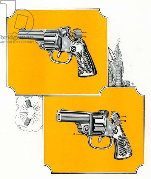 Vintage Illustration of Revolver Handguns, 1927 (engraving)
