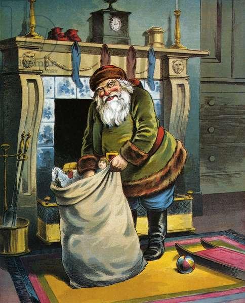 Santa Unpacks His Bag of Toys on Christmas Eve, 1918 (lithograph)