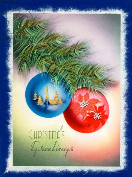 Ornaments on a Christmas Tree, 1930s (lithograph)