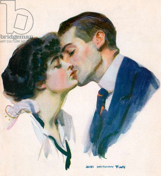 The Kiss by James Montgomery Flagg, 1915 (screenprint)