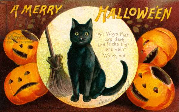 Halloween Greetings with Black Cat and Carved Pumpkins, 1909 (chromolitho)