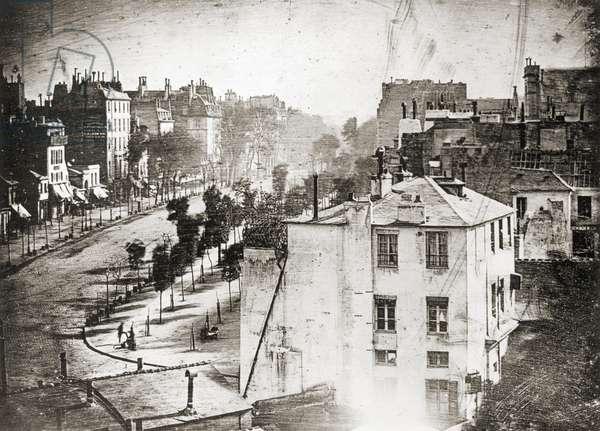 Boulevard du Temple by Daguerre, 1838 (print from a daguerreotype)