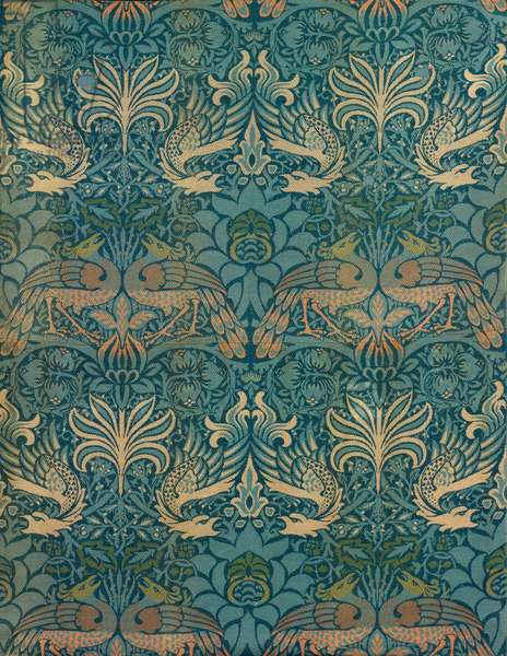 William Morris Peacock and Dragon Textile Design, c.1880 (woodblock print)