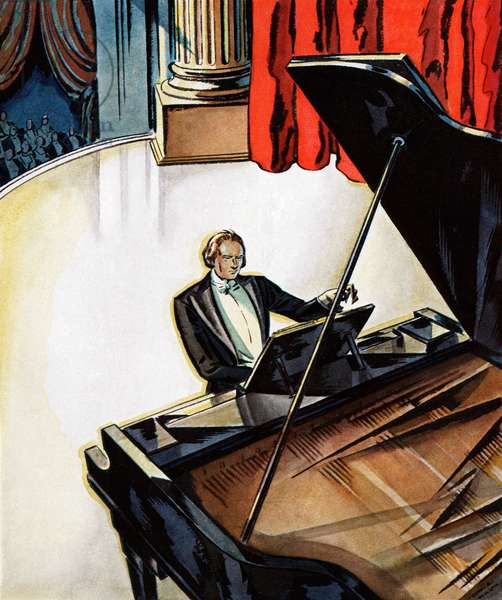 Concert Pianist Performing on a Grand Piano, 1929 (colour litho)