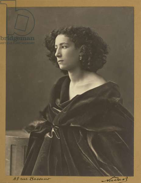Portrait of Sarah Bernhardt in 1864 by Nadar, 1864 (silver print photograph)