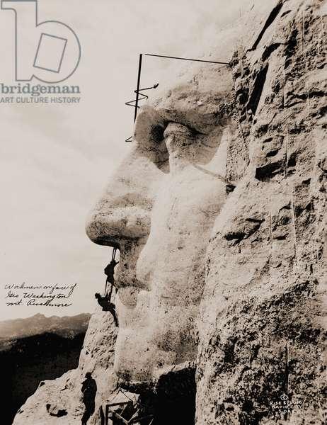 Workmen on George Washington, Mt. Rushmore, 1932 (silver print photograph)