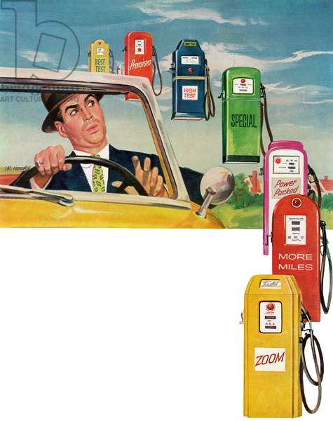 Vintage Illustration of Driver Surrounded by Gas Pumps, 1954 (screenprint)