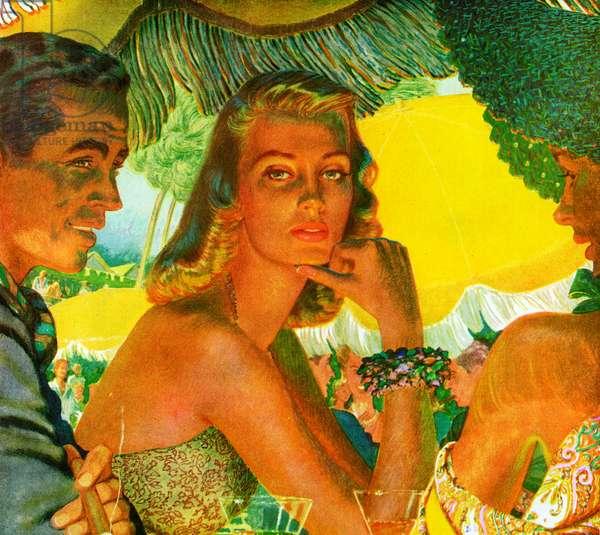 1940s Couple at a Tropical Beach Club, 1947 (screenprint)