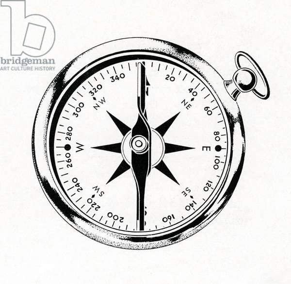 Vintage Illustration of a Compass, 1942 (lithograph)