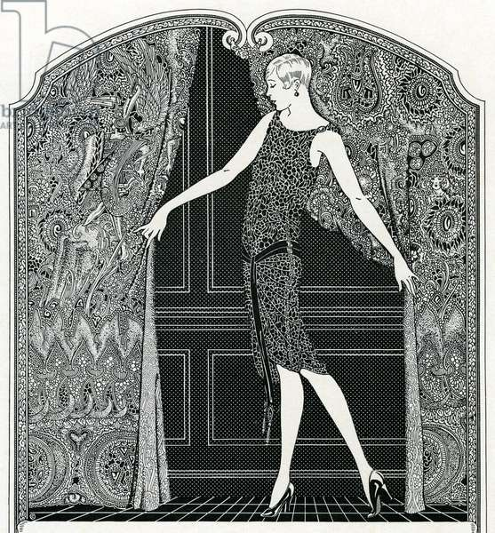 Flapper Opening a Curtain, 1923 (engraving)