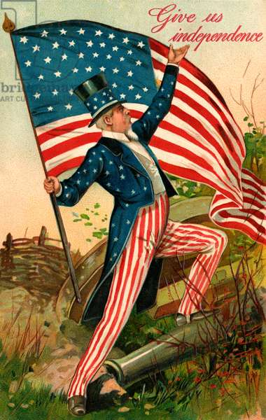 Uncle Sam with the Stars and Stripes, 1908 (chromolitho)