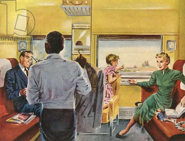 Family Enjoying a First Class Cabin on a Train Trip, 1951 (screen print)