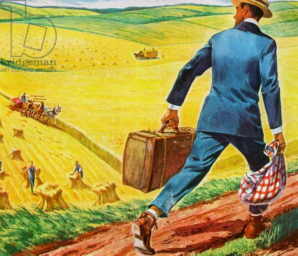 Country Boy Leaving the Farm for the Big City, 1952 (screenprint)