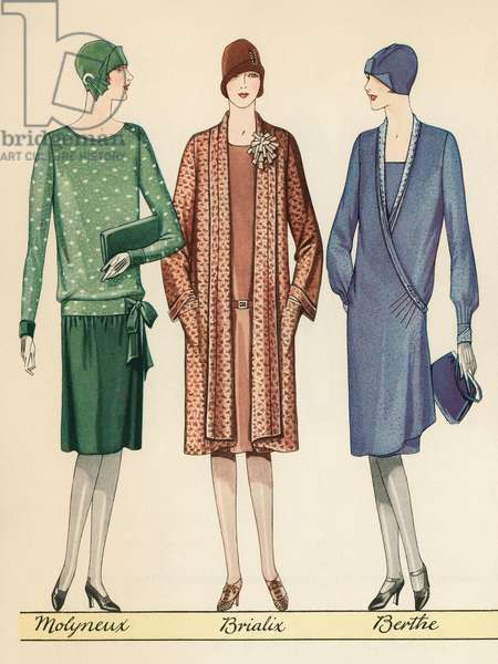 Three Flappers Modelling French Designer Outfits, 1928 (screen print)