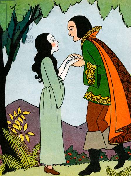 Snow White in Love With the Prince, 1937 (colour litho)