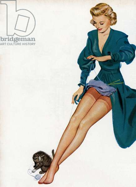 Sexy Woman Showing Off Her Nylons, 1949 (screen print)