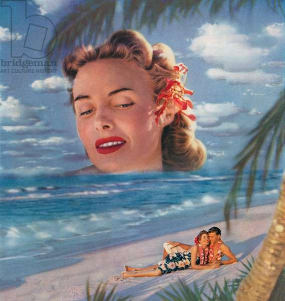 Couple on a Hawaiian Beach with a Giant Woman Looming Over Them, 1956 (screen print)