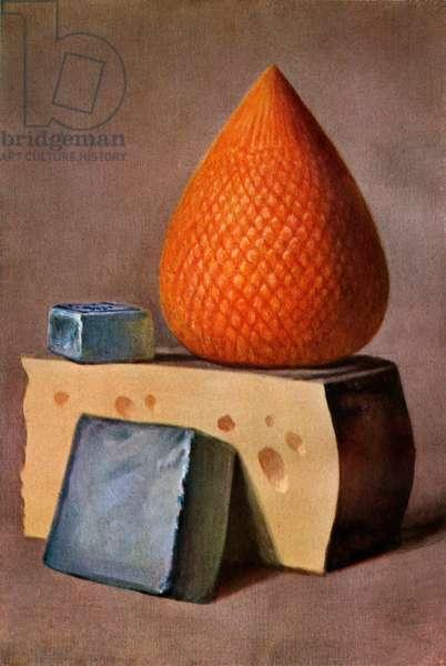 Four Types of European Cheeses, 1911 (screen print)