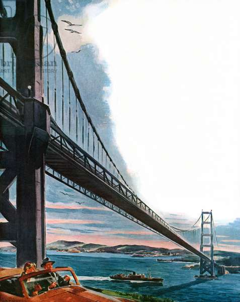 Couple driving in a convertible by the Golden Gate Bridge, 1950 (screenprint)