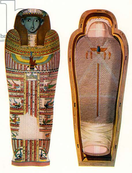 Egyptian Mummy and Sarcophagus, 1907 (lithograph)