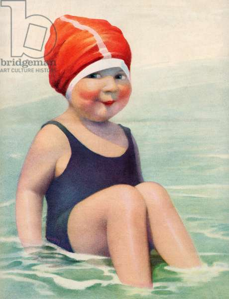 Child Wearing a Swim Cap Sitting in the Surf, 1922 (screen print)