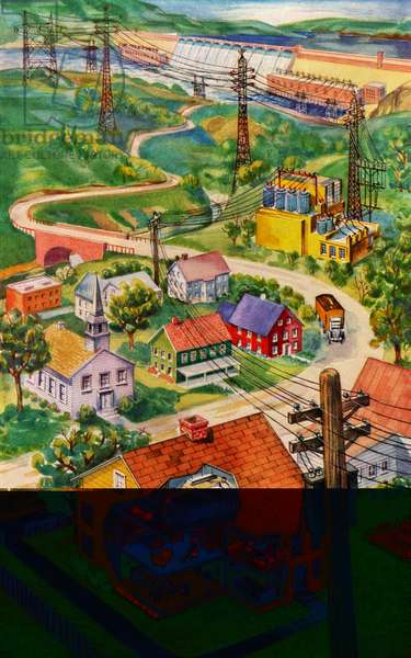 Hydroelectric Dam Brings Electricity to a Small Town, 1946 (screen print)