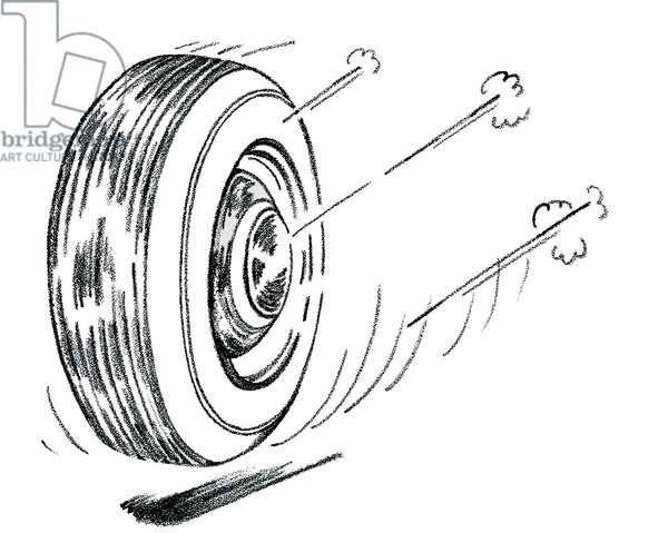 Rolling tire, 1951 (screenprint)